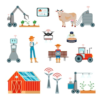 Smart farming flat icons set
