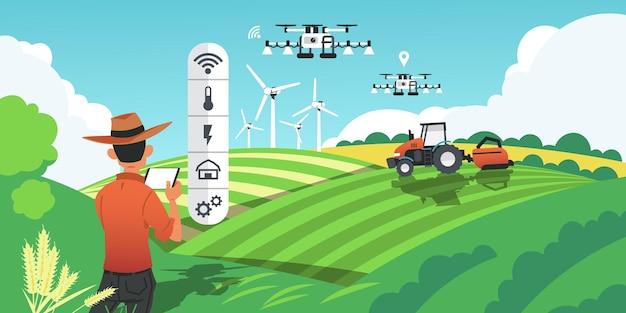 スマート農業。未来の技術、野外でのドローン、gps車両による作物の栽培と植物の収穫。ベクトル画像漫画スマート農業産業の概念、将来の農業革新