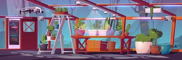 Умное сельское хозяйство в стеклянной теплице с растениями, дроном, системой орошения и мониторинга.