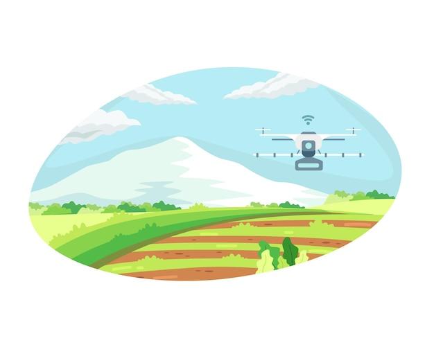관개 드론을 이용한 스마트 농업 기술. 농업 기술과 스마트 팜의 개념, 드론 제어를 통한 농업 자동화. 평면 스타일의 벡터 일러스트 레이 션