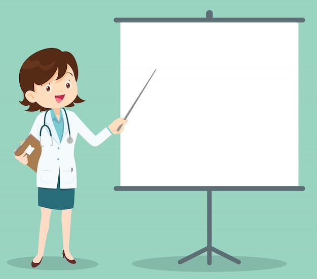 Smart female doctor presenting with projector