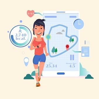 スマートな女性ランナートレーニングトレーニング-ベクトルイラスト