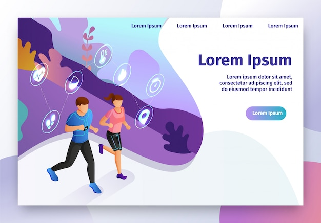 Smart gadget for fitness isometric vector website