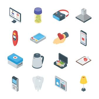 Smart gadgets and home appliances icons
