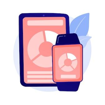 스마트 기기, 웨어러블 기술. 트렌디 한 라이프 스타일 액세서리, 편리한 기기, 휴대용 전자 제품. 현대 전화 및 터치 스크린 컨셉 일러스트와 함께 시계