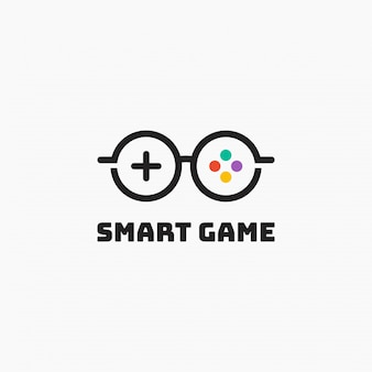 Smart game logo template design.   illustration. abstract game and glasses combination web icons and   logo.
