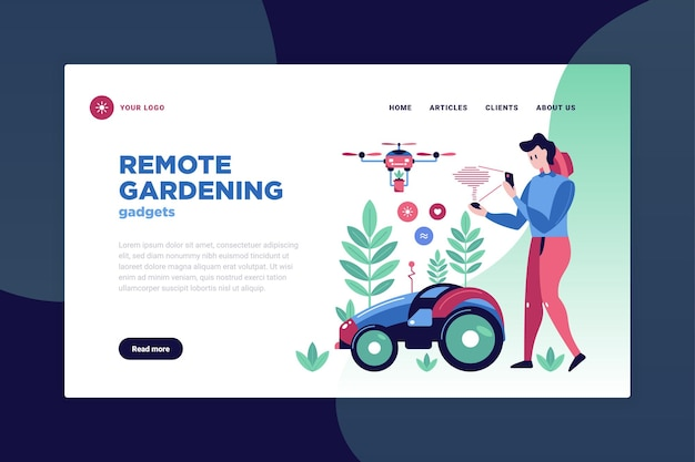 Smart garden page design with remote gardening symbols flat