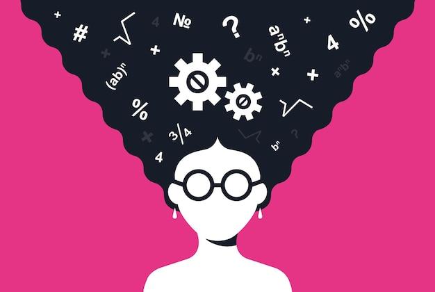 똑똑한 소녀는 수학 문제를 풉니다. 플랫 문자 벡터 일러스트 레이 션.