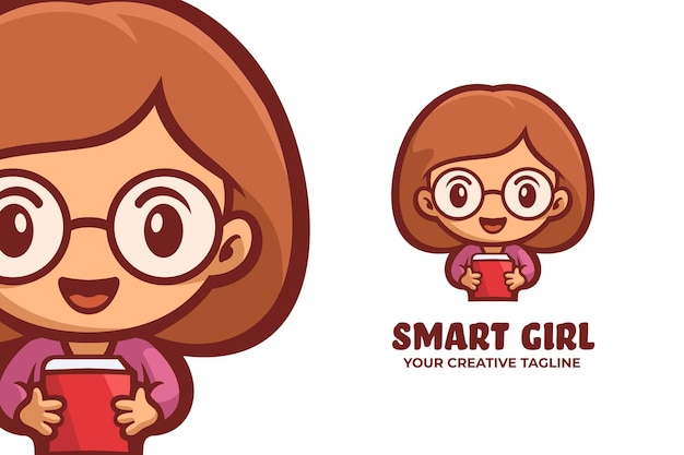 스마트 소녀 착용 안경 마스코트 로고 캐릭터
