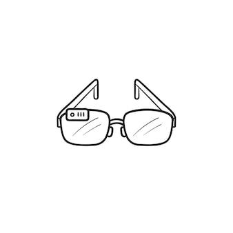 카메라 손으로 그린 개요 낙서 아이콘이 있는 스마트 안경. 가상 현실 안경, vr 가제트 개념