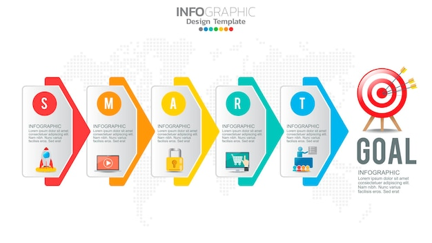 Инфографика стратегии установки умных целей с 5 шагами и значками для бизнес-диаграммы.