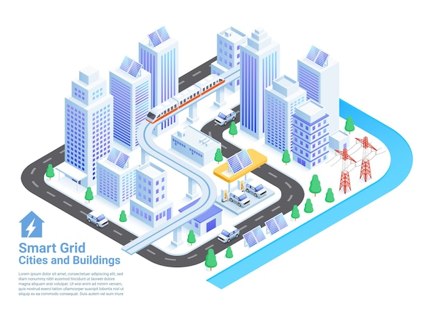 Smart grid cities and buildings isometric illustrations