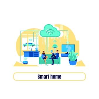 Плоская концепция смарт-сетки. фраза умный дом. автоматический прибор. пульт дистанционного управления для дома 2d иллюстрации шаржа для веб-дизайна. креативная идея цифровой трансформации