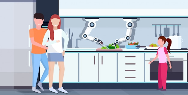 Smart handy chef robot cutting cucumber on board robotic assistant innovation technology artificial intelligence concept happy family standing together modern kitchen interior  horizontal