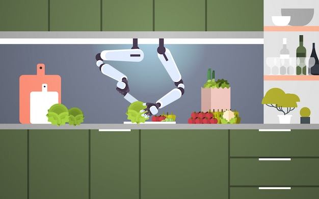 Smart handy chef robot preparing vegetable salad robotic assistant innovation technology artificial intelligence concept modern kitchen interior flat horizontal