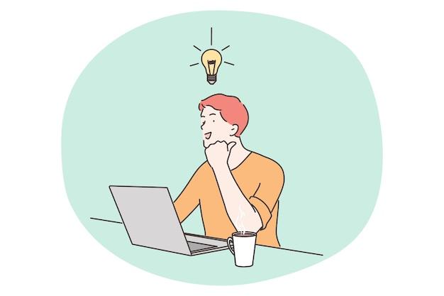 Умный счастливый бизнесмен гений мультипликационный человек, имеющий идею