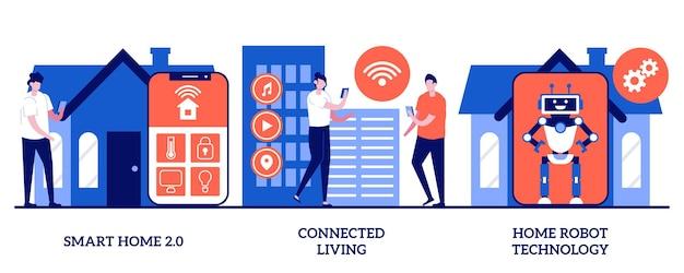 스마트 홈 2.0, 연결된 생활, 작은 사람들과의 홈 로봇 기술 개념. 인지 지능, 사물 인터넷, 혁신적인 기술 추상 벡터 일러스트레이션 세트가 있는 도시와 집.