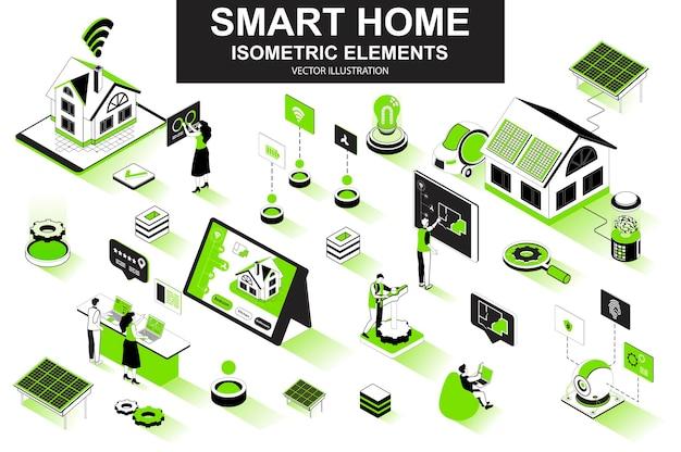 Smart home 3d isometric line elements