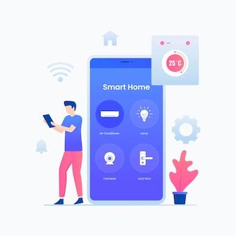 スマートホームアプリのイラストのコンセプト。ウェブサイト、ランディングページ、モバイルアプリケーション、ポスター、バナーのイラスト。
