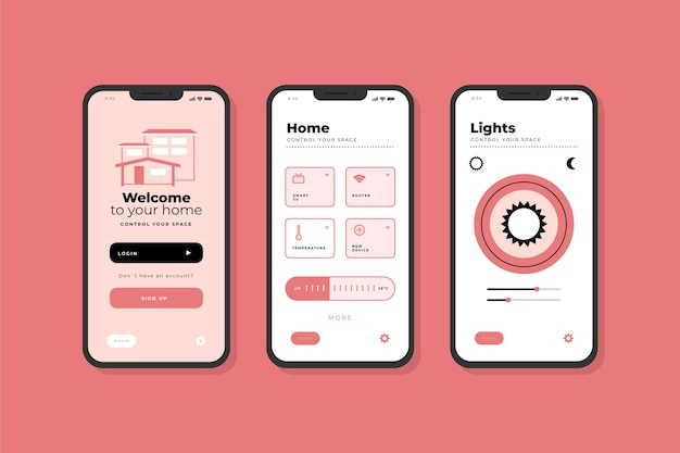 Smart home app interface screens