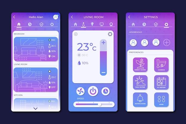 スマートホームアプリのインターフェース