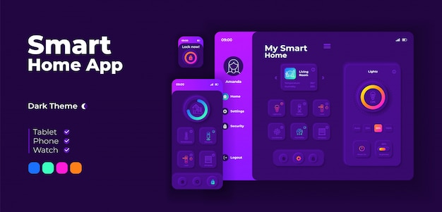 Smart home app screen adaptive design template. household automation application night mode interface with flat characters. iot equipment management smartphone, tablet, smart watch cartoon ui.