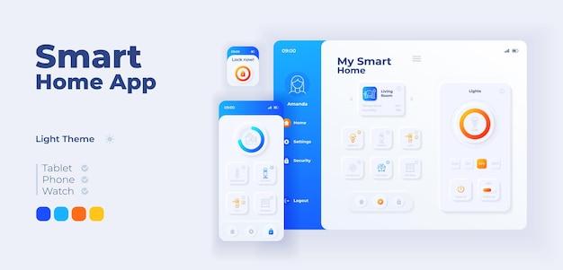 스마트 홈 앱 화면 벡터 적응형 디자인 템플릿입니다. 플랫 문자가 있는 iot 애플리케이션 데이 모드 인터페이스. 가정용 장비 원격 관리 스마트폰, 태블릿, 스마트 시계 만화 ui.