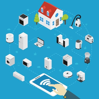 Smart home appliances isometric composition person controls all the electrical appliances in the house by using tablet
