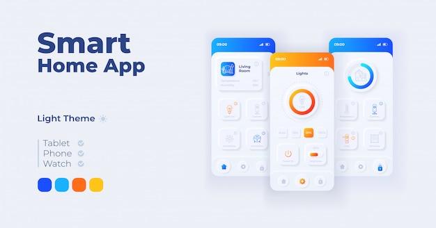 スマートホームアプリケーション漫画スマートフォンインターフェイステンプレートセット。モバイルアプリの画面ページの日モードのデザイン。アプリケーションの気候とセキュリティ制御のui。フラットな文字の電話ディスプレイ。
