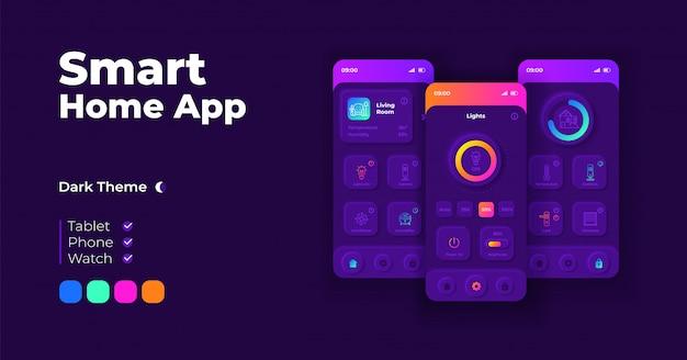 スマートホームアプリケーション漫画スマートフォンインターフェイステンプレートセット。モバイルアプリの画面ページのナイトモードのデザイン。アプリケーションの自動制御システムui。フラットな文字の電話ディスプレイ。
