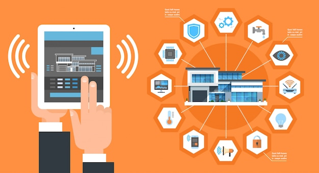 디지털 태블릿에 스마트 홈 응용 프로그램 인터페이스 현대 주택 제어 시스템 자동화 개념