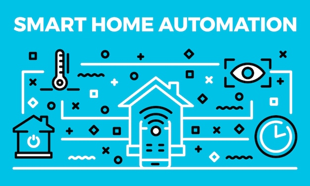 Smart home automation banner, outline style