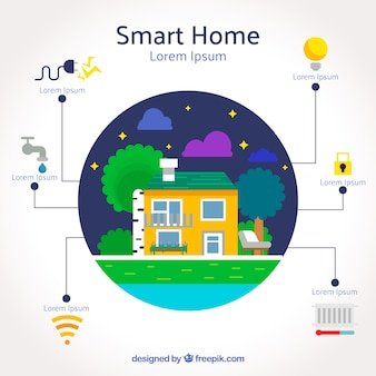 Smart home background in flat style