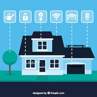 Smart home background with device