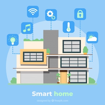 Smart home background with icons