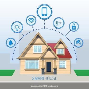 Sfondo casa intelligente con icone