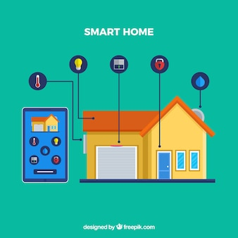 Smart home background with smarthphone control