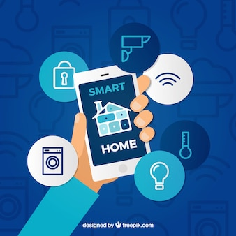 Smart home background with smartphone control