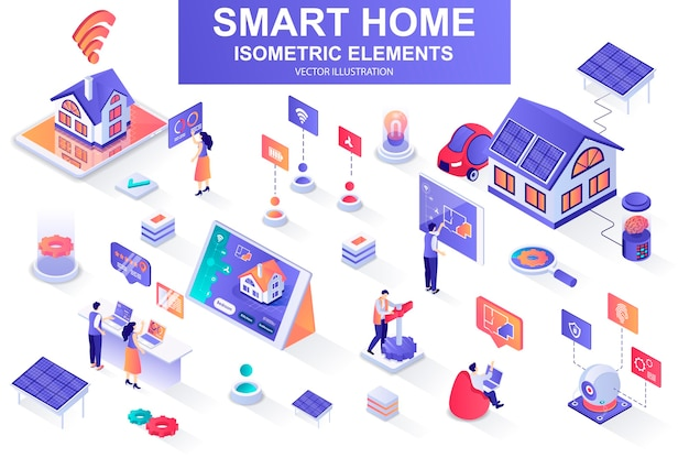 Smart home bundle of isometric elements  illustration