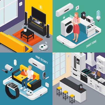 Smart home concept 4 isometric compositions with kitchen bathroom tv iot smartphone smartwatch controlled devices  illustration