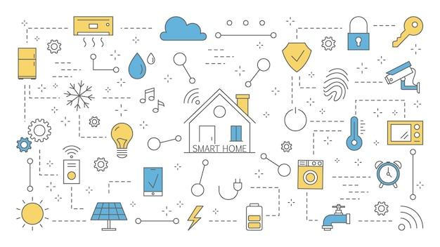 スマートホームのコンセプトです。最新のテクノロジーと自動化のアイデア。家の中の無線通信によるもののインターネット。カラフルな線アイコンのセットです。図