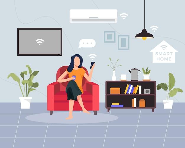 スマートホームのコンセプトイラスト。ワイヤレス集中制御を備えたハウステクノロジーシステムの概念。若い女性はスマートフォンを持ってソファに座っています。フラットスタイルのイラスト