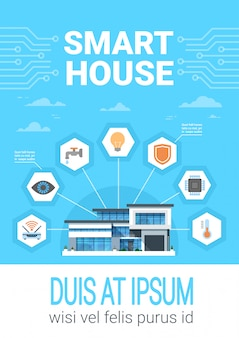 Smart home concept infographics modern house technology system with centralized control icons banner