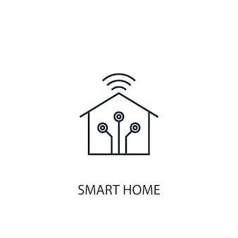 스마트 홈 개념 라인 아이콘입니다. 간단한 요소 그림입니다. 스마트 홈 개념 개요 기호 디자인입니다. 웹 및 모바일 ui/ux에 사용할 수 있습니다.