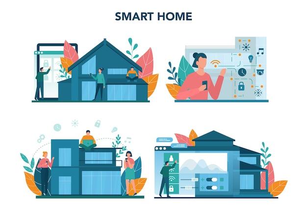 Набор концепции умный дом. идея беспроводной технологии и автоматизации. электронная охрана и свет. цифровые инновации. векторные иллюстрации в мультяшном стиле