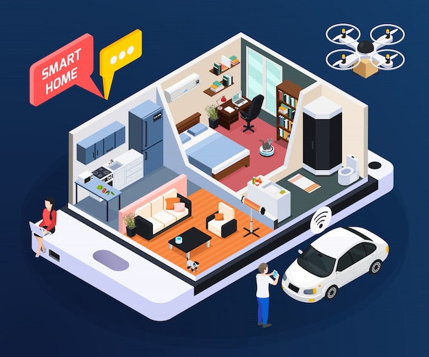 Smart home concept with room design and household, isometric vector illustration