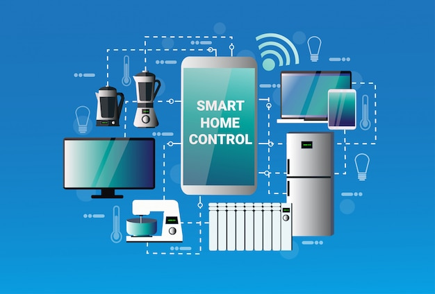 Smart home control system smartphone application devices automation concept modern house technology