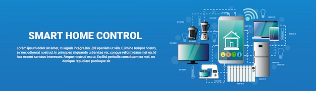 Smart home control system smartphone application icons of devices automation concept