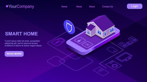 スマートホーム制御のスマートフォン。ホームオートメーションシステムのモノのインターネット技術。画面の携帯電話とアイコンの家電製品とのワイヤレス接続に立っている小さな家。 iot