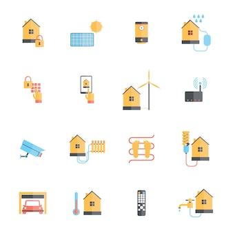 Smart home digital monitoring system icon flat set